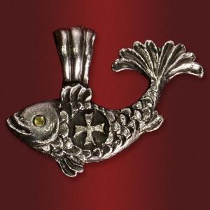 Медальон «Рыбка» с камнем