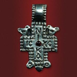 Крест «Птица небесная» с камнем